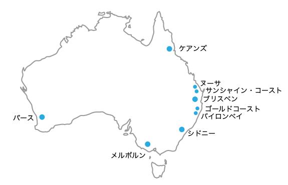 オーストラリア主要都市の地図