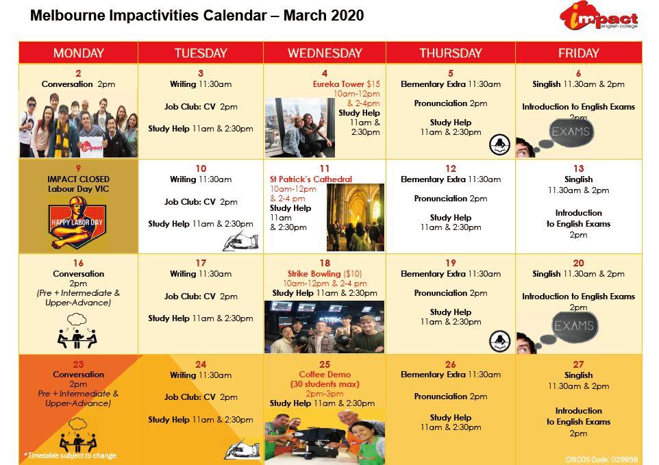 Melbourne Impactivities Calendar