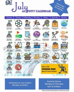SPCケアンズのアクティビティカレンダー