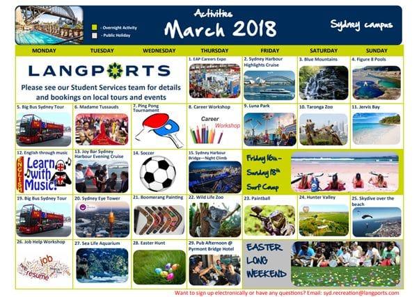 ラングポーツシドニーキャンパスでは毎日アクティビティを開催