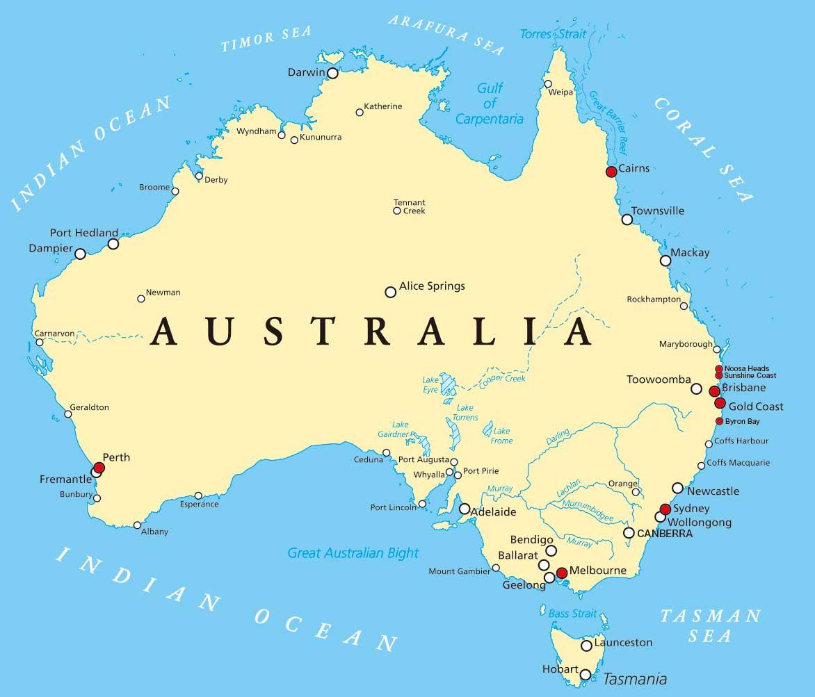 オーストラリア大陸図